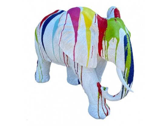 STATUE ELEPHANT EN RESINE BLANC TRASH