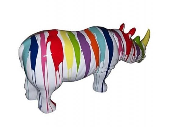 Sculpture Rhinocéros Design Trash Blanc en Résine - 170 CM