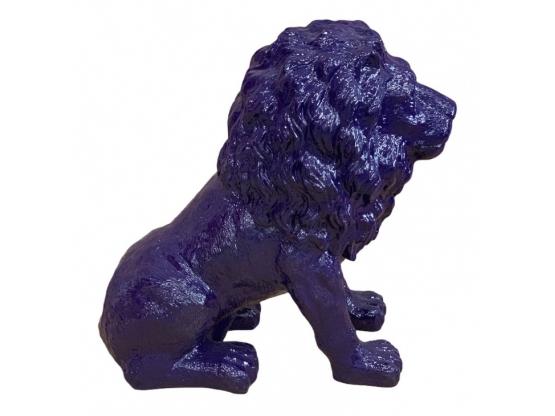 STATUE LION ASSIS EN RESINE HT 70 CM BLEU NUIT