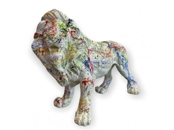 STATUE LION EN RESINE HT 70 CM BLANC COMETA