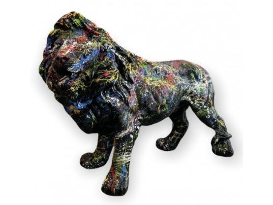 STATUE LION EN RESINE HT 70 CM NOIR COMETA