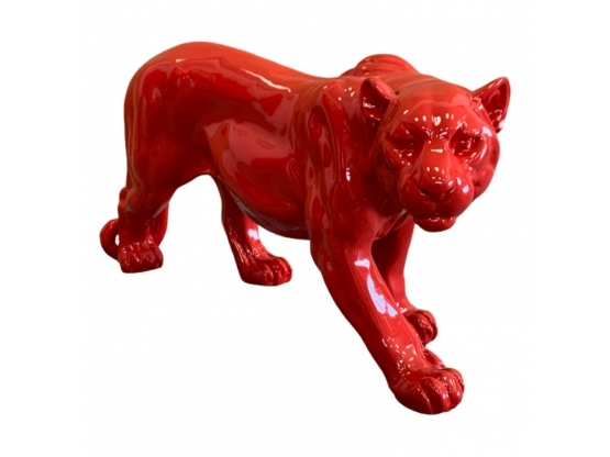 STATUE PANTHERE RESINE HT 80 CM ROUGE