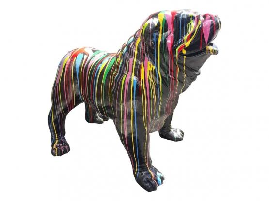 Sculpture Bouledogue Anglais XLL Design Trash Noir en Résine - 150 CM