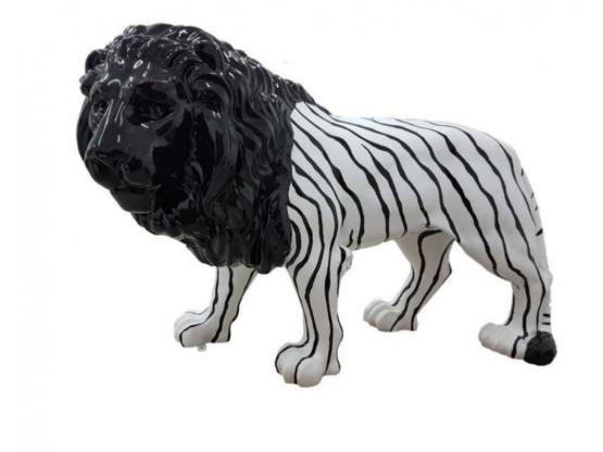 Sculpture Lion XLL Noir et Blanc Design Zèbre en Résine - 190 CM