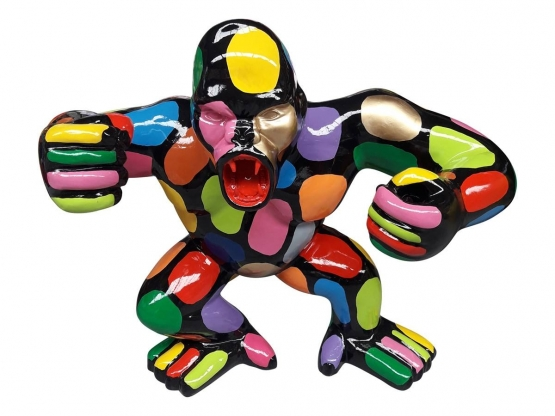 Sculpture Singe, Gorille Multicolore en Résine - 70 CM