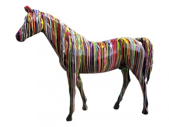 Sculpture Cheval Multicolore en Résine - 220 CM