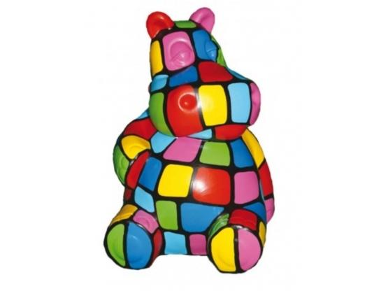 Sculpture Hippopotame Assis Smarties XXL en Résine - 100 CM
