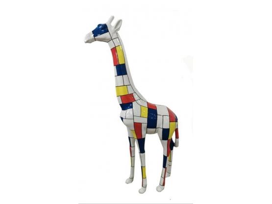 Sculpture Girafe Design Mondrian en Résine - 205 CM
