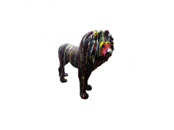 Sculpture Lion Grandeur Nature Design Trash Noir en Résine - 140 CM