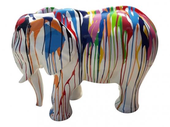 Sculpture éléphant design Trash blanc en résine - 80 cm