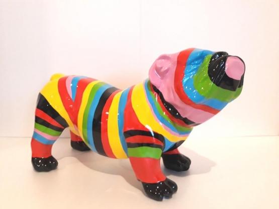 Statue en résine Bouledogue anglais multicolore - H 37 cm
