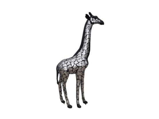 Sculpture Girafe Noir et Argent en Résine - 205 CM