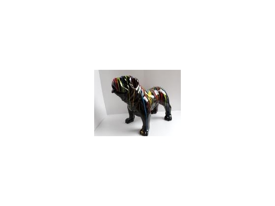Sculpture Bouledogue Anglais Design Trash Noir - 90 cm