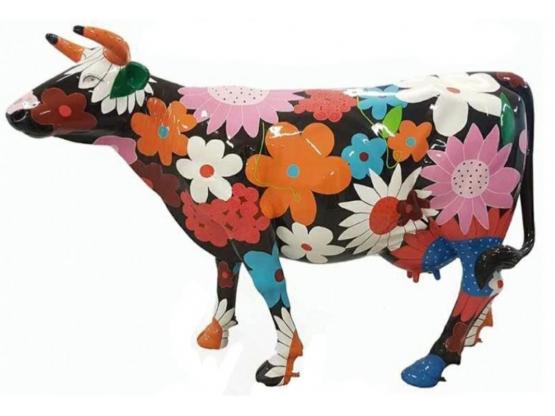 Sculpture de Vache en résine à Fleur L-225cm