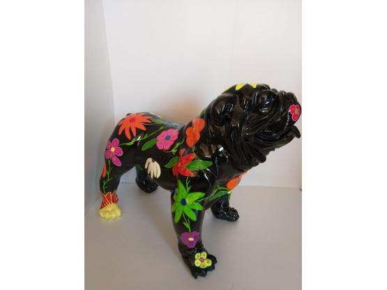 Sculpture Bouledogue anglais en resine décor FLEUR Noir L-90cm