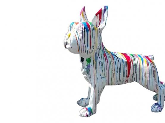 Sculpture Bouledogue Français XXL Multicolore en Résine - 177 CM