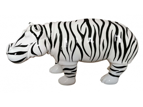 Sculpture Hippopotame XXL Design Zèbre en Résine - 180 CM