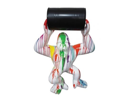 Sculpture en résine Gorille Bidon Design Trash Blanc XXL - 150 CM
