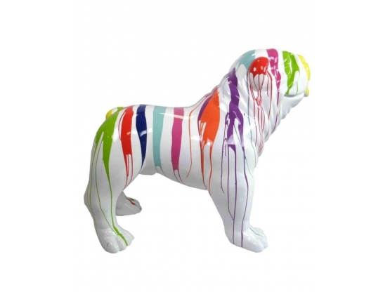 Sculpture Bouledogue Anglais XL ultra brillant Design Trash - 120 cm