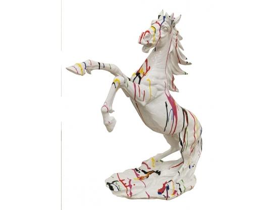 Sculpture Cheval Cabré coloré en résine - 80 cm