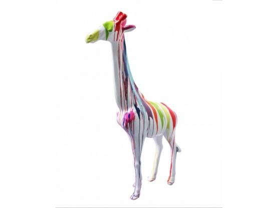 Sculpture en résine Girafe Design Trash Blanc - 205 cm