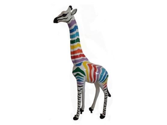 Statue Girafe Zèbre multicolore - 205 cm
