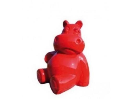 Sculpture Hippopotame Assis Rouge XXL en Résine - 100 CM