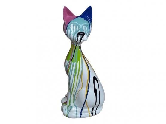 Sculpture en Résine Chat Assis Design Trash Blanc - 60 CM