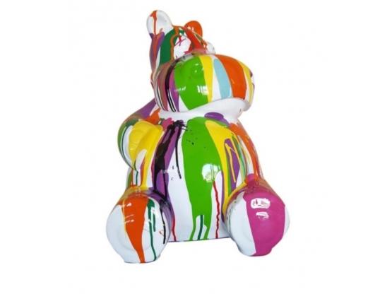 Sculpture Hippopotame Assis Design Trash Blanc XXL en Résine - 100 CM