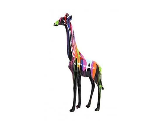 Sculpture en résine d'une Girafe Trash Noir - 205 cm