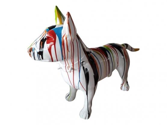 Sculpture Bull Terrier en résine coloré - 115cm
