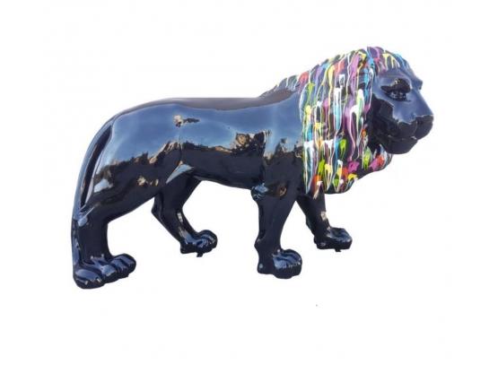 Sculpture Lion Noir crinière colorée XXL - 190 cm