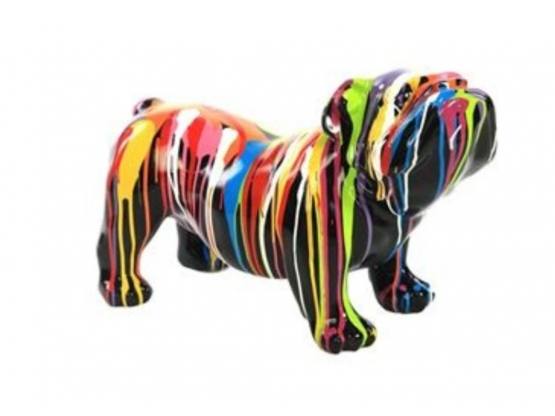 Sculpture en résine Bouledogue anglais design Trash - 37 cm