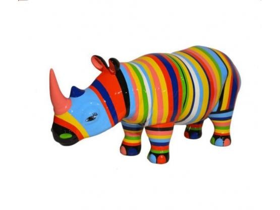 Statue en résine Rhinocéros Design Multicolore - 170 cm