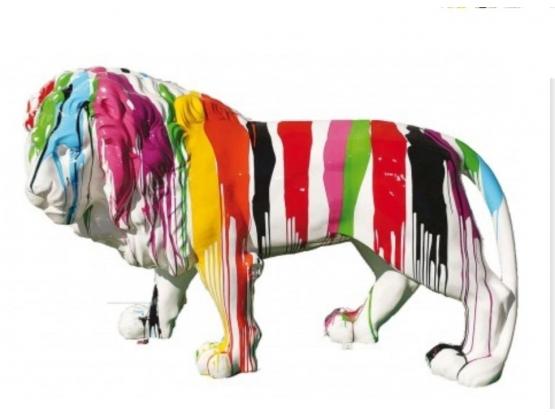 Sculpture Lion Design Trash Blanc XXL - 190 cm