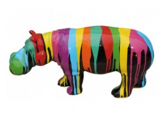 Sculpture Hippopotame Design Trash Noir en Résine - 90 CM