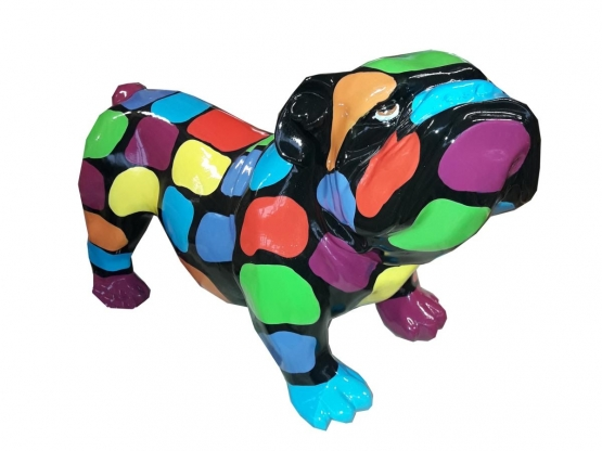 Sculpture Bouledogue Anglais Multicolore en Résine - 37 CM