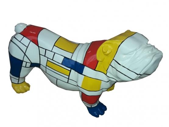 Sculpture Bouledogue Anglais Multicolore en Résine - 37 CM