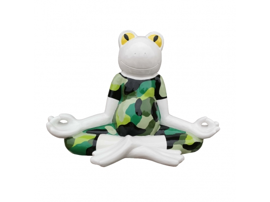 Statue d'une grenouille en résine Tenue de camouflage - 60 cm