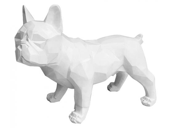 Sculpture Bouledogue Français Origami Blanc en Résine - 35 CM