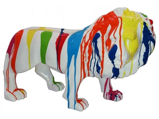 Sculpture Lion Design Trash Blanc en Résine - 100 CM
