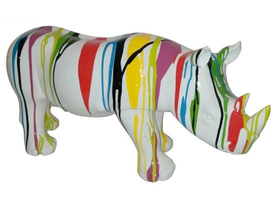 Sculpture Rhinocéros Design Ultra Brillant en Résine - 76 CM