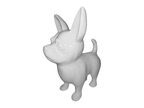 Sculpture Chihuahua S Monochrome Design Ultra Brillant en Résine- 55 CM
