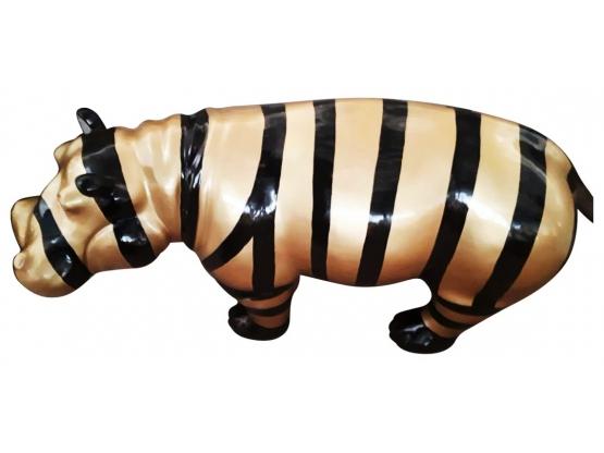 Sculpture Hippopotame multicolore XL en Résine - 95 CM