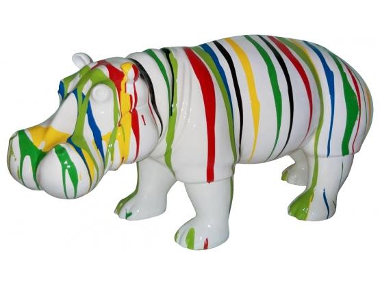 Sculpture Hippopotame Design Trash Blanc en Résine - 90 CM