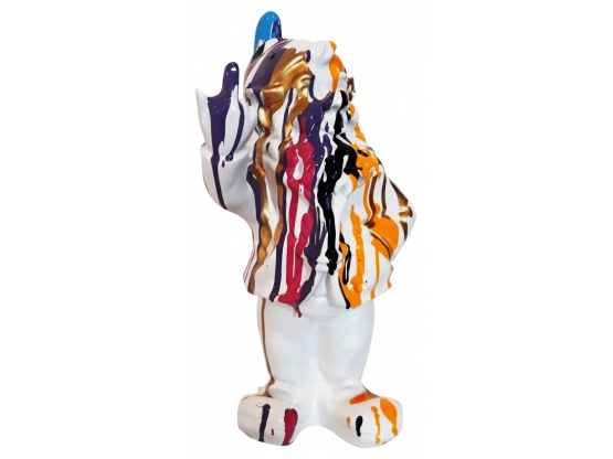 Sculpture Nain Design Trash Blanc en Résine - 33 CM