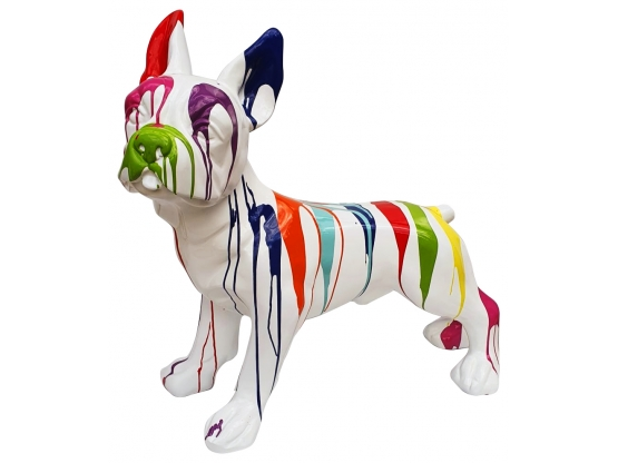 Sculpture Bouledogue Français Design Trash Blanc - 90 CM