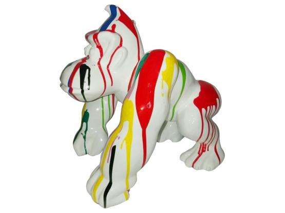 Sculpture Gorille Donkey kong Design Trash Blanc en Résine - 40 CM