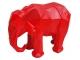 Sculpture Éléphant Origami en Résine - 45 CM Rouge