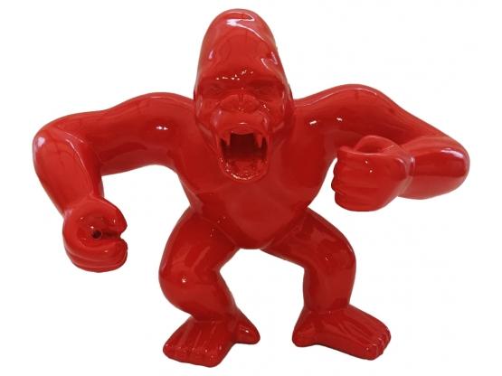 Sculpture Gorille Rouge Design Ultra Brillant en Résine - 45 CM
